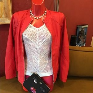 Red Faux Leather Jacket Maurice's sz 0